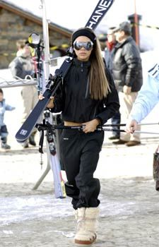 Victoria Beckham with Chanel Skis