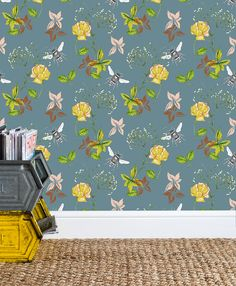 Flora & Fauna Blue luxury wallpaper, coated, non woven. Feeling the blue Florals this morning. 💐 Inspo for drawings & watercolours taken from walks in and around Hampshire & Cornwall. Luxury Wallpaper, Flora And Fauna, Bees, Home Accessories, How To Draw Hands, Interior Decorating, Kids Rugs, Gypsophila, Watercolor