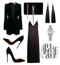 """WIB"" by doctorgarderob ❤ liked on Polyvore featuring Yves Saint Laurent, Raey, Christian Louboutin and Chopard"