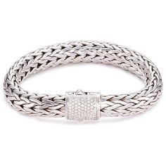 John Hardy Diamond silver woven chain bracelet (54,610 MXN) ❤ liked on Polyvore featuring jewelry, bracelets, metallic, diamond jewellery, silver heart bangle, john hardy jewelry, john hardy jewellery and heart bangle