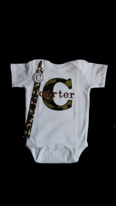 Camo Baby Boy Clothes Personalized Baby Boy Take Home Outfit Monogram Baby Pacifier Clip  Gift Set    Perfect for Twins