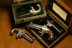 "Colt Derringers – These single-shot Colt derringers were made in the 1870s, but sold overseas at the Colt London Agency storefront. Yet somehow these pocket pieces all made their way to Arizona, still housed in their original ""book"" cases. Makes one wonder what stories they might tell of experiences in saloons and staterooms…"