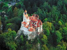 Bran Castle  It is situated between Bucegi and Piatra Craiului Mountains, 30 km from Brasov and it was built by the Teutonic Knights in 1212.  Today it is one of the most famous sites in Romania, being associated with Bram Stoker's Dracula.
