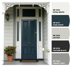 Indigo blue front door entrance 41 Ideas for 2019 Exterior Paint Schemes, Exterior Paint Colors For House, Paint Colors For Home, Exterior Colors, Door Paint Colors, Front Door Colors, Front Door Entrance, House Entrance, Weatherboard Exterior