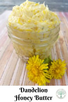 Honey Butter Take advantage of the beautiful yellow blossoms and make this dandelion honey butter! The Homesteading Hippy via advantage of the beautiful yellow blossoms and make this dandelion honey butter! The Homesteading Hippy via Junk Food, Dandelion Recipes, Food Storage, Honey Butter, Vegan Butter, Flower Food, Cooking Recipes, Healthy Recipes, Desserts
