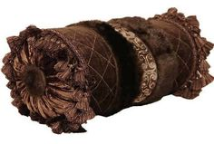 ACCENT PILLOWS by Reilly-Chance Collection: chocolate brown diamond chenille, velvet, and faux mink bolster pillow-Op-4