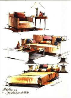 interior design rendering, sketch marker rendering, unknown designer: