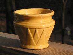 1920s????? -- Early yellowware McCoy Pottery small Art Deco V by Junctique