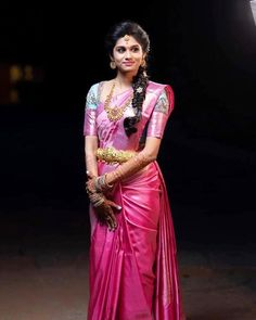Photo shared by Mantra Design Studio on September 2019 tagging Image may contain: one or more people and people standing Pattu Saree Blouse Designs, Half Saree Designs, Fancy Blouse Designs, Bridal Blouse Designs, Bridal Sarees South Indian, Indian Bridal Fashion, Indian Sarees, Silk Sarees, Saree Hairstyles