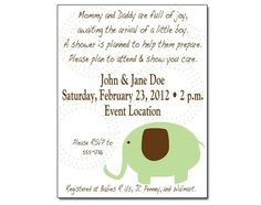 Printable Baby Boy Shower Invitations - Elephant Sage & Brown. via Etsy.  Colors can be customized.