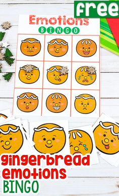 Free printable gingerbread Emotions BINGO game for preschoolers, pre-k and kindergarteners. Kids will love this Emotions game for learning about feelings during your Christmas theme. Perfect game for a Christmas party! Gingerbread Man Activities, Christmas Activities For Kids, Christmas Themes, Kids Christmas, Preschool Christmas, Emotions Game, Emotions Activities, Language Activities, Toddler Preschool