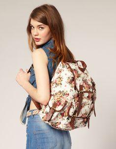 Image 3 ofASOS Floral Canvas Backpack