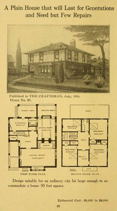 Twenty-four Craftsman Houses, 1911.  Gustav Stickley From the Collection of the Winterthur Museum Library. Craftsman Houses, Craftsman Bungalows, Craftsman Style, Modern Bungalow, Bungalow Interiors, Sims House, Winterthur, Gustav Stickley, House Floor Plans