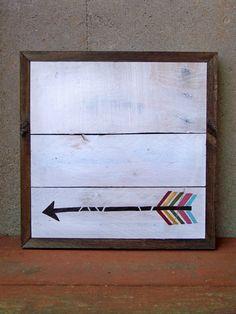 reclaimed wood arrow art