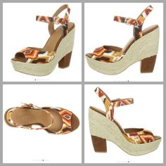 """Anthropologie Wedges Worn lightly only twice, so comfortable! Absolutely no trades! Fabric upper Rubber sole Heel measures approximately 5.25"""" Platform measures approximately 1.75"""" Anthropologie Shoes Wedges"""