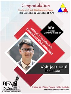 Congratulation Abhijeet Kaul Student of BFA Entrance ( A Unit of Kalabhumi ) Cracked #BFA #Entrance #Exam of Top College in India #CollegeofArt in Top 1 Rank. in #VisualCommunication. many many congratulations for your success... www.kalabhumi.com Top Colleges, Record Holder, Entrance Exam, World Records, Visual Communication, Congratulations, Success, The Unit, Student