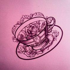 #teacup tattoo by Miss Juliet