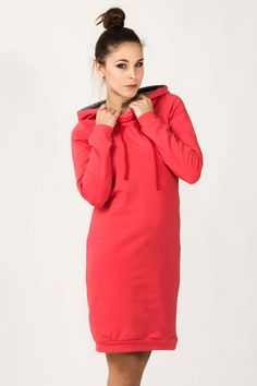 Coral, comfy, sporty dress with hoodie, midi length.