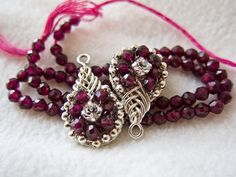 Wired+PIPA+Knot+Earrings+Faceted+Round+Garnets+by+decors+on+Etsy