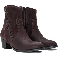 JJ Footwear Berry-Purple Plus Size Leather zip ankle boots ($155) ❤ liked on Polyvore featuring shoes, boots, ankle booties, plus size, block-heel ankle boots, short boots, ankle boots, purple boots and leather boots