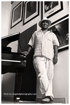 "New Orleans Jazz Musician Anthony Jefferson before the launch of his new album ""But Beautiful"". Taken at his house in Sosua"