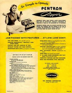 1955 ad for the Pentron Clipper in Reel2ReelTexas.com's vintage recording collection