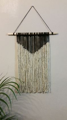 Yarn Tapestry Bohemian Yarn Wall Hanging Black by NWUrbanCottage