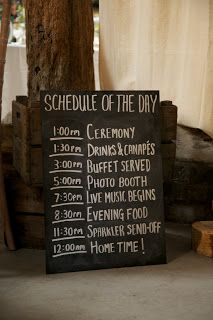 Wedding Schedule - you don't have to put times, just the events your guests can look forward to. After all, a timeline may shift if anything changes. Wedding 2015, Trendy Wedding, Perfect Wedding, Diy Wedding, Rustic Wedding, Wedding Ideas, Wedding Goals, Wedding Schedule, Wedding Day Timeline