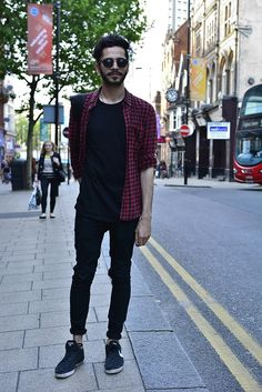 Men's street style | Stay cool in Black - The cool kids wear all black. Pair your all black ensemble with this red checked shirt and some clubmasters. | Shop the look at The Idle Man