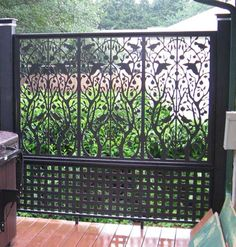 "Create an outdoor screen/room divider using different patterns of affordable pvc lattice. Search ""vinyl decor panels"" at Home Depot to find a great selections of sheets for about 30 bucks each."