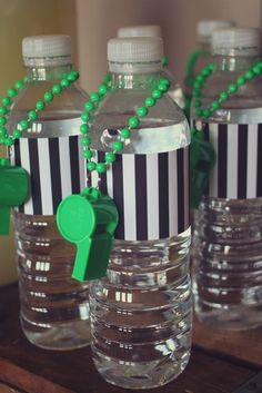 Great football party drink! Decorate water bottles into little referees!