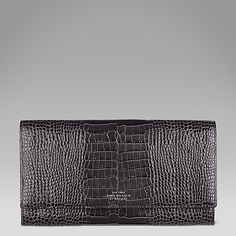 Mara travel wallet in printed charcoal calf leather #SmythsonAW14 http://www.smythson.com/charcoal-grey-mara-marshall-travel-wallet.html