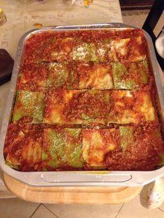 Scacchiera di lasagne bianco verdi