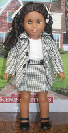 American Girl Style Jacket and Skirt Ensemble in Black and