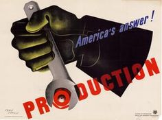 "Description: 	    Drawing of a gloved hand holding a gray wrench, turning the ""o"" in the word ""production"" which is shaped like a bolt.  Creator(s): 	        Carlu, Jean.      United States. Office for Emergency Management. Division of Information.    Creation Date: 	1942"
