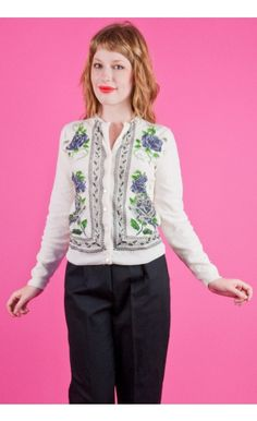 VIOLET KNIT Vtg 50s 60s  White Print Cardigan Sweater XS/S