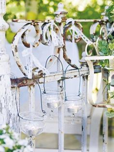 Baby food tealight jars on the fence!  Would be nice for camping or fishing!