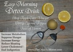 Easy morning detox with lemons, apple cider vinegar, and cayenne pepper. Reduce bloating, more energy, clear skin! Juice Smoothie, Smoothie Drinks, Detox Drinks, Healthy Drinks, Healthy Tips, Healthy Food, Vitamix Juice, Healthy Junk, Healthy Detox