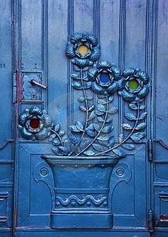 Ornate flower carving on door