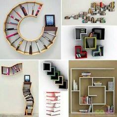 Wall shelf and bookcase models - Life ideas Creative Bookshelves, Bookshelf Design, Oak Shelves, Home Libraries, Ideias Diy, Interior Decorating, Interior Design, Room Decor Bedroom, Diy Home Decor