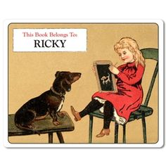 Schoolhouse Dachshund Personalized Bookplate Labels. $15 for set of 18 bookplates.