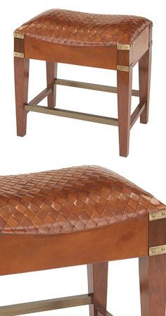 Braided leather is complemented by brass hardware and tapered wood legs in our Miller Hearth Stool. With its padded, contoured seat, it's a comfy spot for fanning flames beside the fireplace. Topped of...  Find the Miller Hearth Stool, as seen in the Retro Racquet Club Collection at http://dotandbo.com/collections/retro-racquet-club?utm_source=pinterest&utm_medium=organic&db_sku=117836