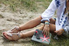 Bassa Grey Clutch Bag with Pink Starfish and Pom Poms Grey Clutch Bags, Boho Beach Style, Gypsy Chic, Beach Ready, Starfish, Bright Pink, Bucket Bag, Bb