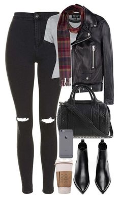#winter #outfits / leather jacket+ booties