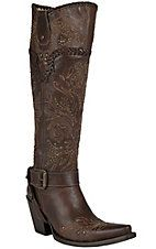 Corral® Women's Brown Whipstitch & Studs Tall Top Snip Toe Western Boots