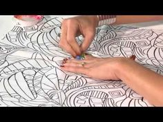 Quilt Show Tutorials: Fabric Painting with Pencils - YouTube. Use Liquitex Fabric Medium, no heat setting. Outline design with Elmers water soluble School Glue to prevent color running. myb