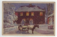 Julekort (slede med hest foran hus) stpl.1944