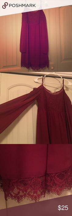 Cold shoulder dark red dress EUC. Worn once as shown in photo. Great lace detail and very comfortable! Double Zero Dresses