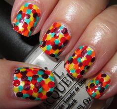 bright polka dot nails