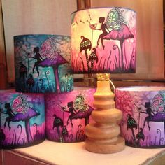 Great Magical Fairy Toadstool, Pink/Purple/Blue, Hand Silk Painted Lamp Shade,